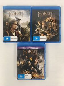 The Hobbit Trilogy Blu Ray x3 Ian McKellen Free Tracked Post Fantasy Action