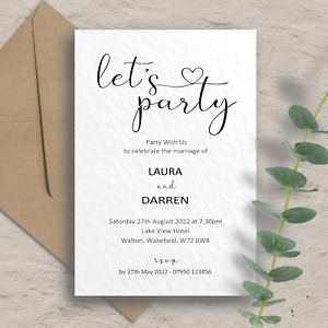 10 x Personalised Wedding/Evening Invitations, Day night Invites with envelopes