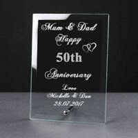 Personalised Engraved 50th Anniversary Glass Plaque Elegant Gift Anni-50-1