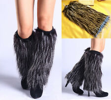 40CM Boot Cuff Fluffy Soft Furry Faux Fur Leg Warmers black&white Shoes Cover