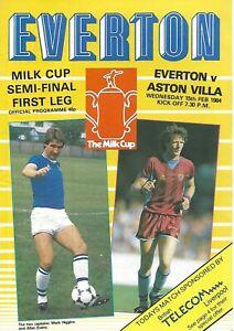 EVERTON V ASTON VILLA 1984 MILK CUP SEMI FINAL MATCH PROGRAMME - 15/02/1984