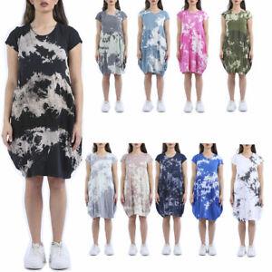 Womens Italian Tiedye Lagenlook Panelled Jersey Cotton Two Pocket Tunic Dress