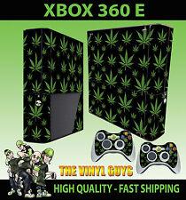 Xbox 360 E Cannabis Leaf Schwarz Gras Skin & 2 Controller Polster Hülle