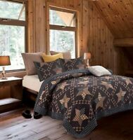 Primitive Black Brown Star Printed Quilt Set Country Barn Lodge Cottage
