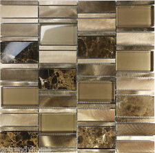 Sample Golden Brown Metal Glass Natural Stone Mosaic Tile Kitchen Backsplash Spa