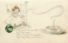 Baby Birthday~One Pink Candle on Cake~Girl in White~Gibson Art Lines~Artist