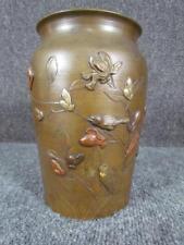 ANTIQUE JAPANESE BRONZE MIXED METAL VASE, GOLD, BRASS, COPPER, BIRDS, FLOWERS