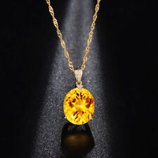 Charm 18k Yellow Gold Simple Oval Citrine Crystal Fashion Pendant Necklace