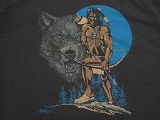 SUPER CHEESY!! vtg CAVE MAN LOOKING NATIVE wolf HUNTER SWEAT SHIRT indian XL