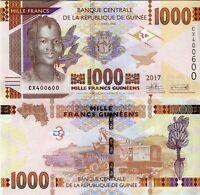 Guinea 1000 Francs / Guinea 1000 Franken Banknote 2017 (2019)  kassenfrisch UNC.
