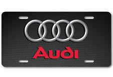 AUDI Aluminum Carbonfiber Metal Car Auto License Plate Tag Abstract Art New