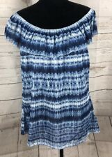 Chaps Women's Beach View Plus Size 2x Blue White Tie Dyed Ruffle Neck NWT     b