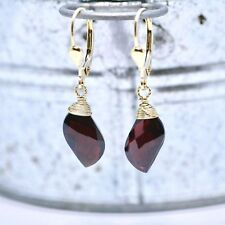 Natural Garnet Wire Wrapped Earrings in Solid 14K Yellow Gold 2nd Anniversary
