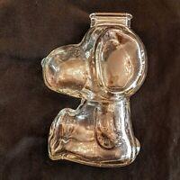Anchor Hocking Peanuts Snoopy Coin Still Piggy Bank VTG Clear Glass Beagle Dog