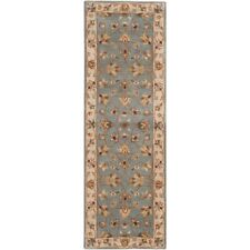 """Safavieh Royalty 2'3"""" x 7' Hand Tufted Wool Runner India Rug in Blue and Beige"""