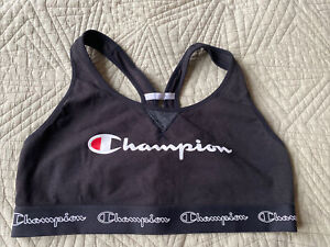 Champion Women's Size XL  Black Logo Moderate Support Authentic Sports Bra