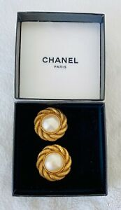 Authentic CHANEL Vintage Clip-On Earrings