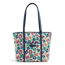 Vera Bradley Small Trimmed Tote Shoulder Bag in Cuban Stamps NEW