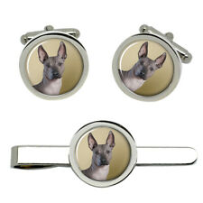 Mexican Hairless Dog Cufflinks and Tie Clip Set