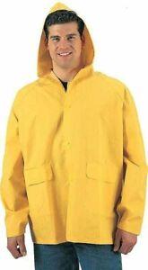 Mens Bright Yellow Waterproof Heavy Duty PVC Hooded Rain Jacket