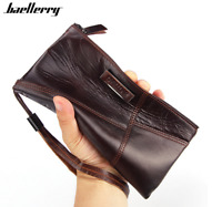 Men's Genuine Leather Cowhide Clutch Wallet Bifold Credit Card Holder Long Purse