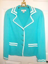 Gorgeous St. John Turquoise w/White Trim Enamel Button Jacket Sz 14