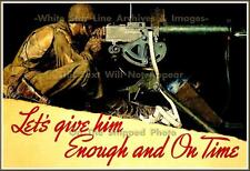 War Poster: Norman Rockwell: 'Let's Give Him Enough & On Time' WW2 Poster Print