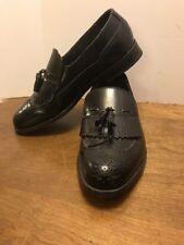 Dexter Black Leather Shoes Slip On Dress Tassels Size 8.5 2W Mens Leather Sole