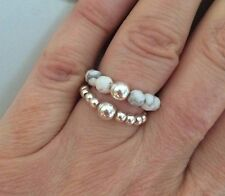 WHITE HOWLITE STERLING SILVER STRETCH RING STACKING BEAD BIRTHSTONE GIFT CHAKRA