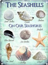 Seashells Seaside Collection House Kitchen Bathroom Beach Small Metal Tin Sign