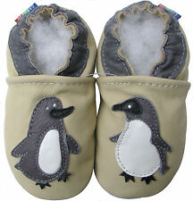 carozoo cream penguin 18-24m soft sole leather baby shoes