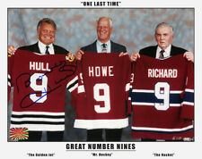Three Nines: Maurice Richard, Gordie Howe, Signed Bobby Hull - Three Great Nines