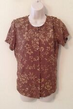 Womans Button Down Shirt Size 8 By Talbots Brown Flowers Pure Silk