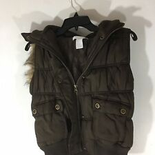 Charlotte Russe Black Padded Vest sleeveless coat Hood with Faux Fur Trim