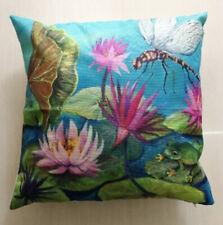 Dragonfly Lily Pond Cushion Cover 45x45cm Jenny Sanders Art