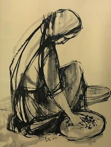 Ruth Schloss Hand Marked/Signed  Print Working Woman Israeli Artist No Frame