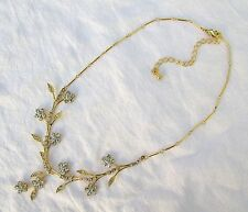 """Gold Tone Delicate Crystal Floral Wedding Bridal Gown Necklace Adjustable 16-19"""""""