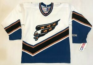 CCM Washington Capitals NHL Hockey Jersey Youth S/M White Canada Sewn blank