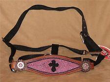 Pink Beaded Black Cross Horse Halter Bronc Style Noseband Halter Beaded Cross