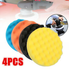 "4Pcs 7""/180mm Sponge Waffle Polishing Buffer Pad Foam Kit Tool For Car Polisher"