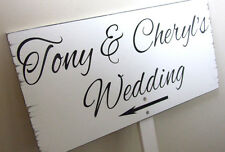 Bride and Groom Wedding sign on a post white wooden vintage style