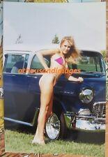 Vtg 80's Photo/Sexy Blonde Woman In Bikini Long Legs 1955 Chevy Bel Air 372