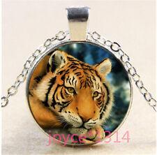 Vintage Tiger Cabochon Tibetan silver Glass Chain Pendant Necklace #239
