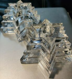 WMF LEAD CRYSTAL TIERED STAR CANDLE HOLDERS MADE IN GERMANY 2 Pcs