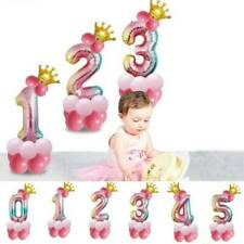 32 '' Rainbow Number Foil Balloons With Crown Baby Shower Birthday Party Decor