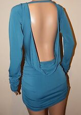 VICKY MARTIN turquoise blue cowl backless long sleeved mini dress BNWT 12 14