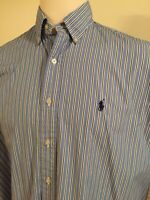 Men's Polo Ralph Lauren Golf Tilden Shirt Long Sleeve L/S Blue Stripe Large L