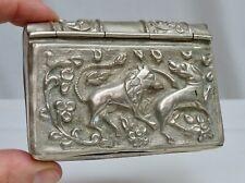 Vintage India Repousse Silver Plate Cigarette Box  - 80342