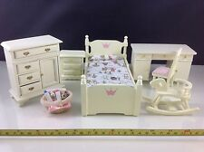Dollhouse Miniature Wood Kid Bedroom Table Basket Bed Ivory Furniture Set 1:12