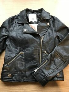 Girls Black Faux Leather Biker Jacket By River Island Age 7-8 Years